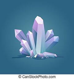 pierre, quartz, crystal., illustration., couleur, cristal glace, vecteur, luxe, géométrique, stone., gemme, guérison