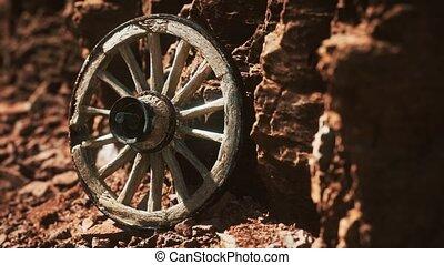 pierre, rochers, charrette, vieux, bois, roue