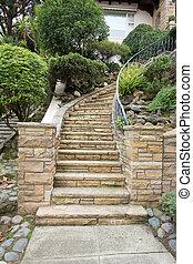 pierre, rue, entrée, escalier, travaux