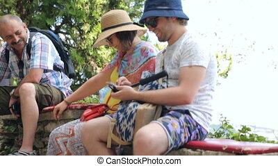 pierre, selfie, touristes, parapet, crosse, séance