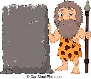 pierre, signe, homme cavernes, tenue, dessin animé