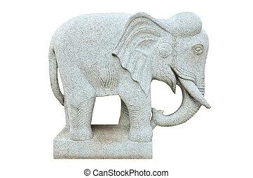 pierre, statue, éléphant