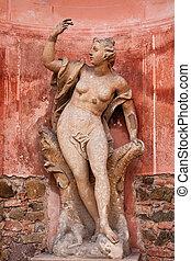 pierre, statue, de, a, femme, dans, château, jardin, dans, dobris, dans, république tchèque, europe