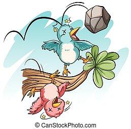 pierre, succès, oiseaux