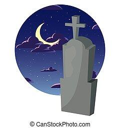 pierre tombale, ciel nuit, lune