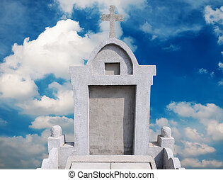 pierre tombale, dans, les, ciel, fond