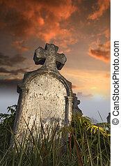 pierre tombale, frotté