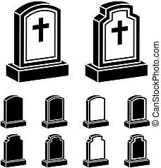 pierre tombale, symbole, noir, croix, 3d
