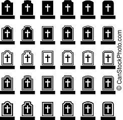 pierre tombale, symbole, noir, croix