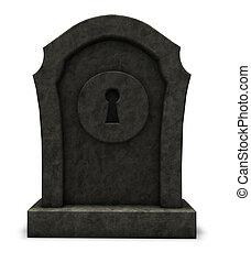 pierre tombale, trou de la serrure