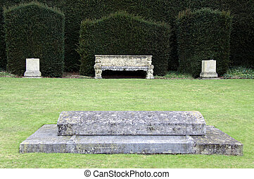 pierre tombale, vieux, banc jardin