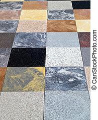 pierre, tuiles, plancher, différent, granit, exposer