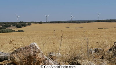 pierre, turbines, espagne, fond, désert, vent