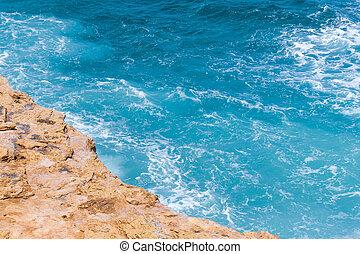 pierre, turquoise, bord, sea., falaise roche