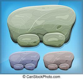 pierre, ui, jeu, dessin animé, signe