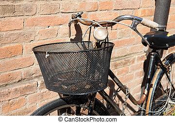 pierre, vélo, mur, vendange, contre, penchant