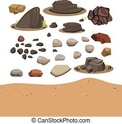 pierre, vecteur, conception, collection