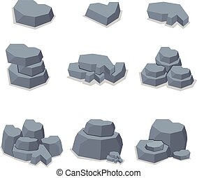 pierre, vecteur, ensemble, élément