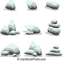 pierre, vecteur, ensemble, dessin animé