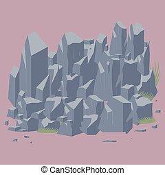 pierre, vecteur, rocher