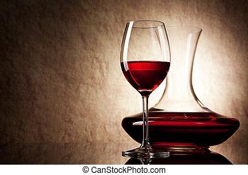 pierre, vieux, fond, carafe verre, vin rouge