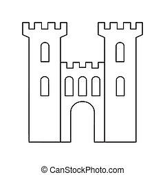 pierre, vieux, moyen-âge, mince, portail, ligne, icône