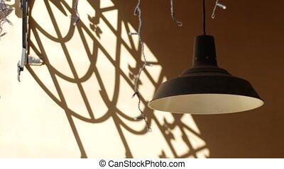 pierre, vieux, mur, oscillation, vent, lanterne
