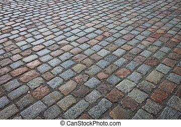 pierre, vieux, rue, mouillé, avenue, route, pavé