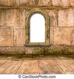 pierre, vieux, salle, fenêtre, style victorien