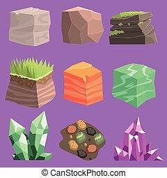 pierres, éléments, conception, terrestre