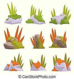 pierres, éléments, naturel, collection, herbe, vecteur, conception, illustration, mousse, rocher, paysage