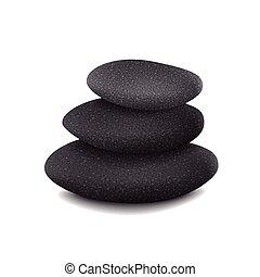 pierres, équilibré, tas