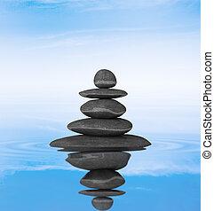 pierres, équilibre, concept, zen