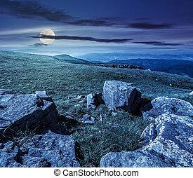 pierres, été, colline, paysage, nuit