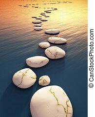 pierres, étape, coucher soleil