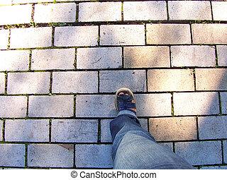 pierres, étape, -, jambe