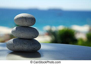 pierres, 3, empilé, mer
