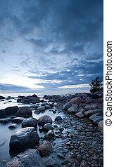 pierres, après, Coucher soleil, mer