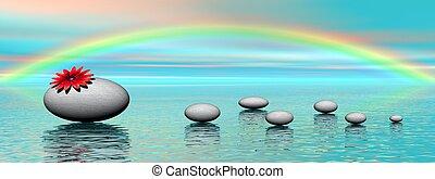 pierres, arc-en-ciel, zen