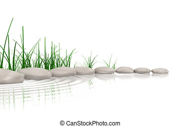 pierres, arrose affilez, herbe, &