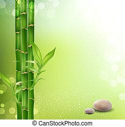 pierres, bambou, méditatif, oriental, fond