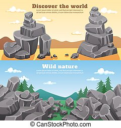 pierres, bannières horizontales, rochers
