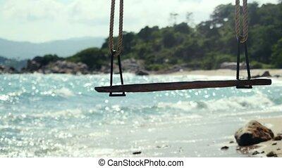 pierres, beau, fond, vagues, koh, plage, irrigation, bleu, arbre, exotique, 4k, mer, paradis, sky., 3840x2160, île, swing., samui