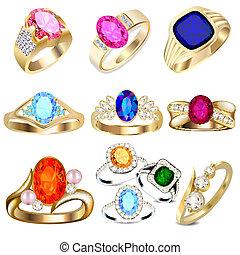 pierres, blanc, ensemble, précieux, anneau