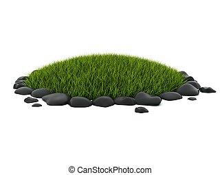 pierres, blanc, herbe, vert, isolé