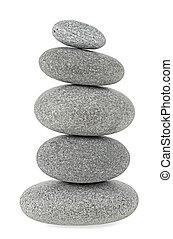 pierres, blanc, pyramide, isolé, fond
