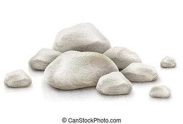 pierres, blanc, tas, isolé, fond