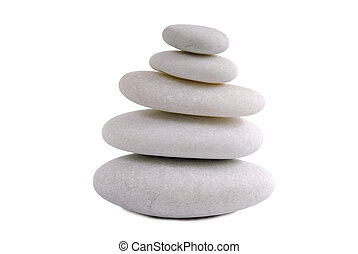 pierres, blanc, zen, isolé, fond