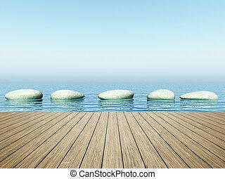 pierres, bleu, étape, mer