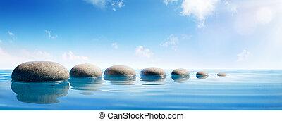 pierres, bleu, concept, -, zen, eau, étape